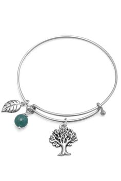 1.5mm expandable silver tone metal fashion bangle bracelet with a 17mm x 21mm oxidized tree charm an 8.5mm x 15.5mm leaf charm and an 8mm aqua agate charm. The bangle diameter expands from 64mm to 79mm. Fashion jewelry contains base metal. Tree Charm Bracelet  by Walker And Son Inc. Accessories - Jewelry - Bracelets Richmond Virginia