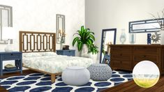 The Sims 4 Bayside Bedroom Set Furniture Sets, Furniture Design, Double Bed Linen, Oval Table, Tufted Sofa, Exposed Wood, Pouf Ottoman, Best Dining, Room Set