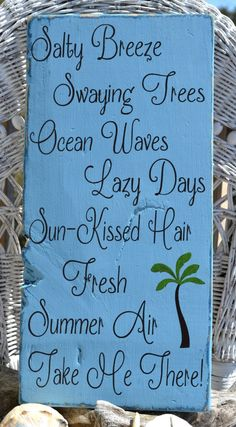 Beach Sign, Beautiful Beach Decor Sign Hand Painted Wood