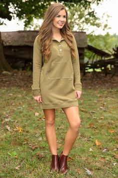 Pushing Buttons Sweatshirt Dress-Olive - New Today | The Red Dress Boutique