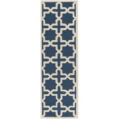Shop for Safavieh Handmade Cambridge Navy Blue/ Ivory Wool Rug (2'6 x 20'). Get free shipping at Overstock.com - Your Online Home Decor Outlet Store! Get 5% in rewards with Club O! - 16688120