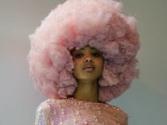 Cotton Candy Pink Hair Afro Black girl I love this look even though I would never try it Black Girl Pink Hair, Curly Pink Hair, Cotton Candy Makeup, Cotton Candy Hair, Bushy Hair, Curly Hair Styles, Natural Hair Styles, Afro Punk, Afro Hairstyles