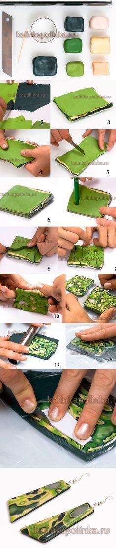Mokumegane polymer clay tutorial. Мокуме гане без использования сложных интструментов. #PolymerClayJewelry