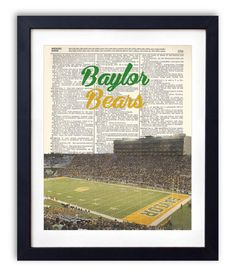 Pre-retirement Floyd Casey Stadium printed on vintage dictionary paper.