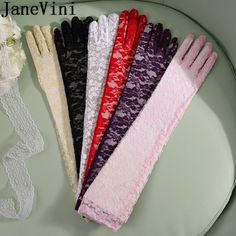 """Pick Your Color ! 15/"""" Lace-Sheer  Organza  Glove For Adult"""