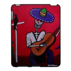 Folk Art Dia de los Muertos Serenata Guitar Mariachi Player IPAD Case