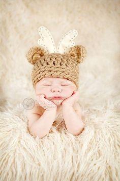 Baby Deer Hat - Newborn Photo Prop - Hunting Hat - Deer Hat With Antlers - Bitty Buck - NEWBORN Size. $38.00, via Etsy.