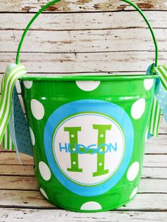 custom 10 QUART bucket with stacked name in by monkeyseeboutique, $30.00
