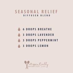 For the seasonal allergy sufferer this diffuser blend can help to alleviate symptoms. This blend of doTERRAs Breathe, Lavender, Peppermint and Lemon work together to open airways, relieve a runny …