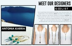 """""""When your hobby becomes a passion and your love for #jewelry takes shape and form, you've already found the key to success"""". Antonia Karra-Makios is influenced from cultures all around the world and draws her inspiration by her Greek heritage, the golden Greek sunsets and the eye-soothing blue of the sea! Although she is a new entry in Geelist's designer collections, we have already fallen in love with her beautiful creations! Positive Outlook, Unique Bracelets, Shape And Form, Designer Collection, Sunsets, How To Become, Greek, Designers, Passion"""