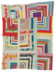 "Rita Mae Pettway - ""Housetop""—twelve-block ""Half-Log Cabin"" variation -c. 1975 Cotton, cotton/polyester blend, corduroy 84 x 70 inches"