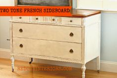 French Buffet with Sideboard painted in CeCe Caldwell's Vintage White