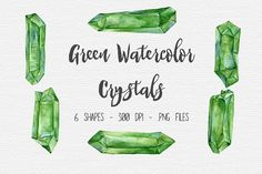 Green Watercolor Crystal Clipart Graphics Watercolor Crystal Clipart - lovingly hand drawn, then scanned, cleaned up, & packaged neatly fo by TigerlilyDesignCo