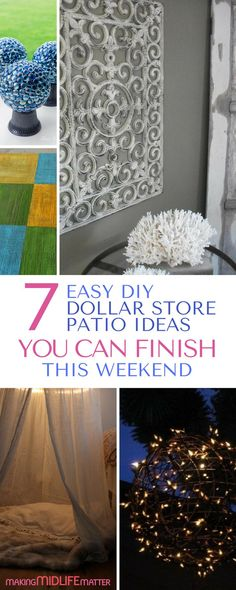 These 7 dollar store patio ideas will make your backyard a summer oasis. Get them all done in one weekend on budget. Be frugal with style and start to enjoy the warmer weather outdoors now. via @makingmidlife Diy Patio, Budget Patio, Outdoor Patio Ideas On A Budget Diy, Diy Home Decor On A Budget, Pergola Patio, Pergola Plans, Outdoor Projects, Backyard Patio, Backyard Landscaping