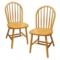 Solid Wood Chair Set of 2 Natural Dining Room Furniture Kitchen Chairs Oak for sale online Windsor Dining Chairs, Solid Wood Dining Chairs, Dining Chair Set, Dining Room Chairs, Dining Room Furniture, Table And Chairs, Side Chairs, Oak Chairs, Wooden Chairs