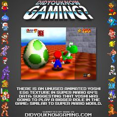 Did You Know Gaming? Super Mario 64 http://tcrf.net/Super_Mario_64#Yoshi_Egg