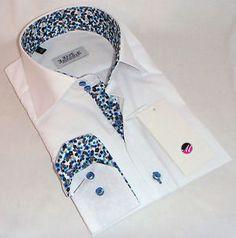 New Mens Formal Smart Italian White Slim Fit Floral Collar Shirt M L XL 3XL 4XL