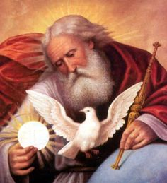 God the Father holding the Eucharist - His Son - and the Holy Spirit as a dove.
