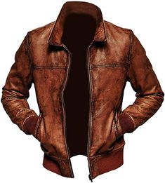 Distressed Leather Men's Leather Bomber Biker Fashion Jacket Brand Leather Edges Running Size USA true Size Material leather Interior polyester Lining Brown leather jacket men Modificati… Brown Leather Jacket Men, Winter Leather Jackets, Classic Leather Jacket, Leather Jackets Online, Distressed Leather Jacket, Vintage Leather Jacket, Biker Leather, Leather Men, Real Leather