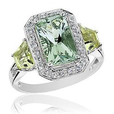Roberta Z Green Amethyst, Lime Quartz and Diamond Ring