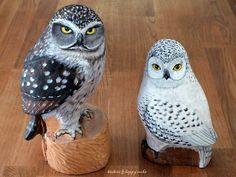 https://flic.kr/p/fpJZDU   Chouette chevêche et chouette harfang   Sculptures d'Éric + peinture acrylique  www.flickr.com/photos/65477508@N06/