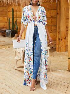 Shyfull Trendy X-long Floral Printed White Coat Half Sleeves, Types Of Sleeves, Short Sleeves, Kimono Fashion, Fashion Dresses, Fashion Shoes, Mode Kimono, Kimono Top, Looks Plus Size