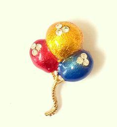 Balloon Enamel Pendant Brooch by DejaVuVintiques on Etsy