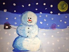 In this lesson we read Snowmen At Night. This is a cute little story of what snowmen might do at night when we are all sleeping. Christmas Art Projects, Winter Art Projects, Cool Art Projects, Painting Snow, Winter Painting, Third Grade Art, Grade 3, Fourth Grade, Snowmen At Night