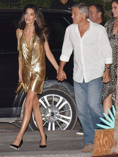 Amal Clooney Is George's Golden Girl in Metallic Mesh Mini Dress: See Their Sexy PDA http://stylenews.peoplestylewatch.com/2015/08/24/amal-clooney-sexy-gold-mini-dress-couple-style-george/