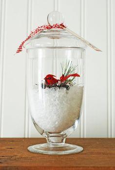 Vintage Apothecary Jar with Red Bird Snow Terrarium......Handmade Decoration. $28.00, via Etsy.
