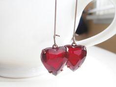 Red Heart Earrings Valentine Jewelry  Vintage by linkeldesigns, $12.00