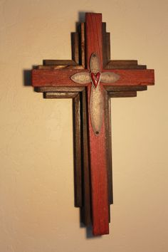 Wooden Rustic Wall Cross from reclaimed wood - Oklahoma (red)