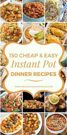 150 Cheap and Easy Instant Pot Recipes Make dinner a breeze on a budget with these cheap & easy instant pot dinner recipes. There are delicious recipes for chicken, pork, beef, soups and more - 150 Cheap and Easy Instant Pot Dinner Recipes Instant Pot Dinner Recipes, Healthy Dinner Recipes, Cooking Recipes, Instant Recipes, Delicious Recipes, Instant Pot Meals, Lunch Recipes, Sick Recipes, Cooking Blogs