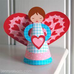 Sweetheart Angel - From Jenny B. Harris of the Allsorts blog - Free PDF Printable