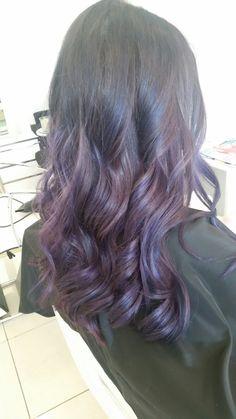 Purple hair  Purple balayage  Curls  Www.modellookbeautyandhair.com.au