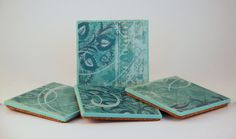 Wood Coasters, Set of Four, Turquoise Print, Decoupage and Painted, Cork Back..........Free US Shipping