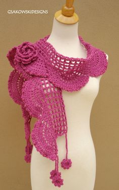 Collette Scarf ShawlPink by gsakowskidesigns on Etsy