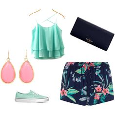 blue by vavou34 on Polyvore featuring polyvore, fashion, style, Vans and Kate Spade