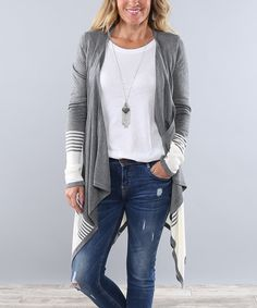 Look at this Charcoal Two-Tone Stripe Open Cardigan on #zulily today!
