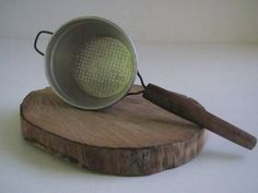 Vintage aluminum tea strainer colander wooden handle primitive  kitchen decor farmhouse rustic cottage chic camping gray.