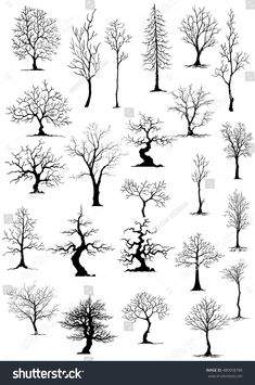 silhouettes of trees Drawings Of Trees, Drawing Trees, Paintings Of Trees, Tree Drawing Simple, Art Drawings, Pencil Drawings, Wood Burning Crafts, Wood Burning Art, Wood Burning Patterns