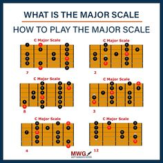 Complete Guide to learning the Major Scale with exercises, patterns and backing tracks. The in depth major scale tutorial explains how to build the major sca. Guitar Chords And Scales, Guitar Chord Chart, Classical Acoustic Guitar, Acoustic Guitar Lessons, Guitar Strumming Patterns, Free Guitar Lessons, Music Theory Guitar, Guitar Youtube, Major Scale