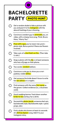 Bachelorette party season is here. Game on, b*tches.-Bachelorette party season is here. Game on, b*tches. Bachelorette party season is here. Game on, b*tches. Bachelorette Party Scavenger Hunt, Bachelorette Party Checklist, Bachlorette Party, Bachelorette Party Decorations, Bachelorette Weekend, Bachelorette Parties, Disney Bachelorette, Party Games, Party Activities