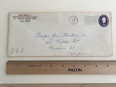 """Item: fc_19570610_1 Business cover approx. 4""""x 9 ½"""" (stamped envelope) Condition: very good, yellowing due to age and some minor crease  Pacific District of United Evangelical Lutheran Church Rev. Christian Justesen, President 183 No. Broadway Fresno 21, California  Postmark: FRESNO JUN 10 3:30PM 1957 CALIF. 3c Washington stamped envelope  Addressee: Pacific Gas & Electric Co. 1401 Fulton St. Fresno 21 California"""