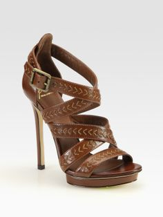B Brian Atwood Cordoba Strappy Leather Platform Sandals in Brown | Lyst