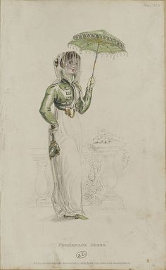 This Empire Period parasol is used to shield oneself from the sunlight in order to maintain a fashionably pale complexion. The work of art's subject's green spencer jacket, and green drawstring purse beautifully matches her green tasseled parasol. Jane Austen, Regency Dress, Regency Era, Empire Style, Historical Clothing, 1800s Clothing, Historical Costume, Fashion Plates, Fashion History