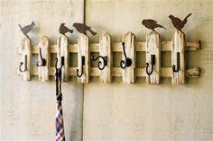 Handmade Reclaimed Wood Birds on Picket Fence Wall Hooks Shabby Chic Style Decor Wall Mounted Coat Rack, Wall Racks, Wall Hanger, Hangers, Wood Picket Fence, Picket Fence Crafts, Rustic Fence, Cedar Fence, Wood Bird