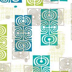 Midcentury Tikis 3a fabric by muhlenkott on Spoonflower - custom fabric