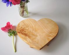 Heart Shaped Cutting Board Footed Serving Tray by grayworksdesign, $65.00