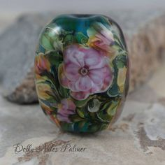 Dolly Ahles Palmer Lampwork   Watercolor Floral bead  Went for $50  Very nice bead & no bubbles where they were not meant to be...